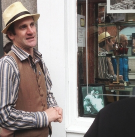 at sweeny's shop window during the ulysses tour